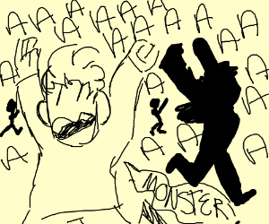 Guy Screaming Monster And People Running