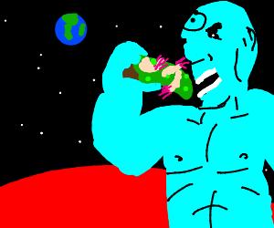 Dr Manhatting eats green pizza + giant shrimp
