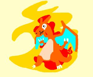 Charizard finally realizes it's on fire