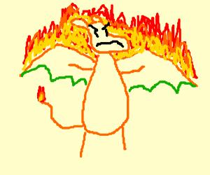 Charizard on fire