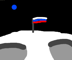 Russian flag on the moon