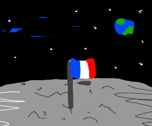 French Flag On The Moon