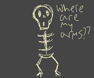 Armless skeleton is confused