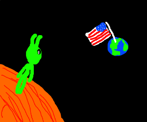 alien seeing the american flag on mars