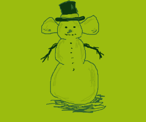 muscular green snowman with giant ears