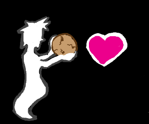 ghost is crying in love with floating cookie.