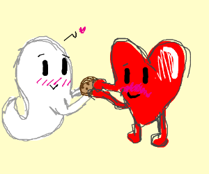 Ghost giving cookie to heart