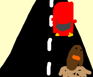 Diglett about to get run over by a car