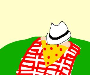 Slice of Pizza Wearing Fedora on PicnicBlanket