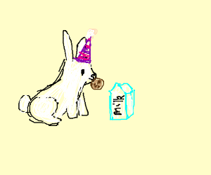 Bunny celebrating with cookies and milk(?)