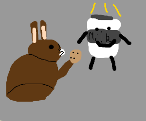 Bunny using cookie as a offering to milk gods