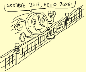 A clock jumping over a fence, 2017 to 2086