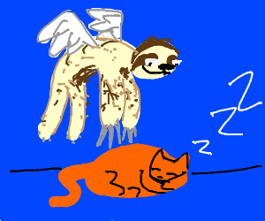 Sloth with wings jumping over a sleeping cat