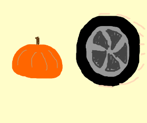 Pumpkin almost hit by a tire