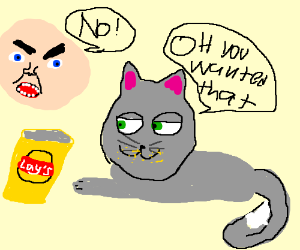 Cheeky Kitty eating chips