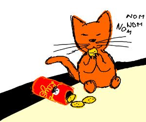 cat eating lays