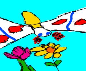 Mothra attacks a flower