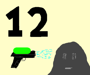 the number 12 and a watergun and a rock face