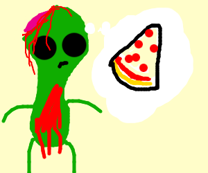 Alien zombie contemplates pizza