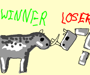 Good Rhino defeats Evil Robot Rhino