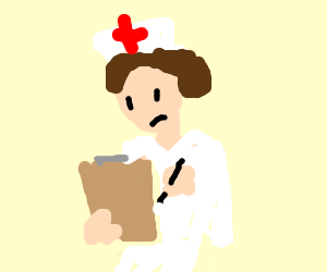 A nurse is checking her notebook
