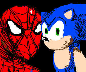 sonic taking a photo with spiderman
