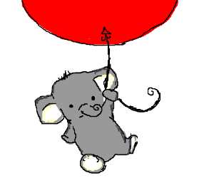 baby elephant being carried away by balloon