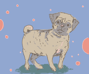 pug floating on patch of grass in space :O