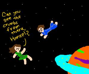 dead Hanzel and Gretel float in space