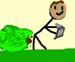 Man shits into bush