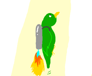 bird with a jetpack