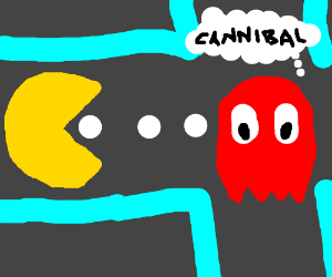 Ghost thinks canibble pac-man is messed up
