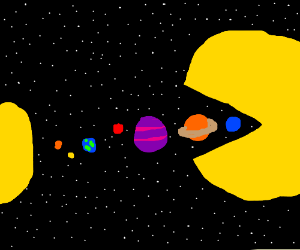 Colossal Pacman eating the solar system