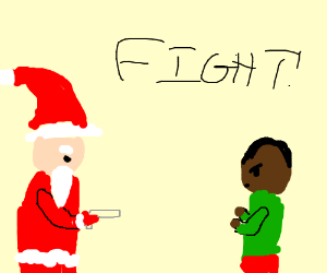 Downey Santa fight black man