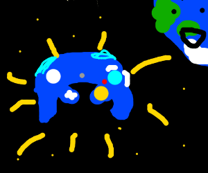 gamecube controller in space and theres earth