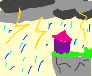 a purple hut facing a thunder strom