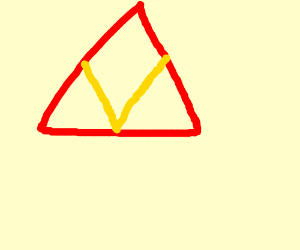 red triangle with yellow v in front of it