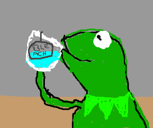 Kermit the frog drinking bleach - DrawceptionKermit Drinking Bleach