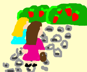 2 sisters are picking strawberries