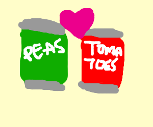 cans with food are in love