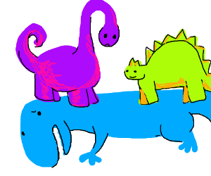 Green and purple dinosaur on blue
