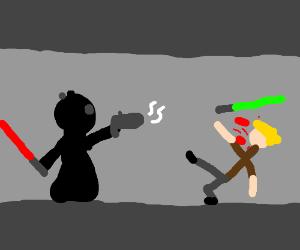 Dartvader kills Luke in a hallway