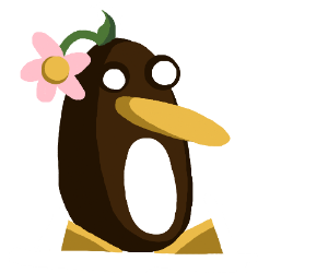 Penguin wears a flower on its head