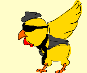 Chicken wearing a suit and hat.