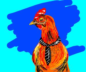 A hen wearing a tie