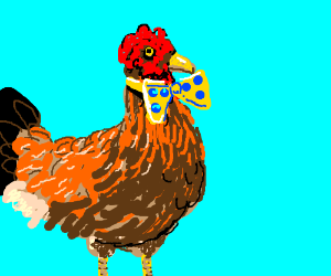 chicken with a bow tie