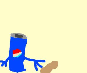 a pepsi hitting a peanut