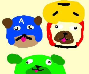 The Avengers as pugs.