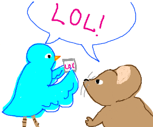 mouse and bird discussing memes