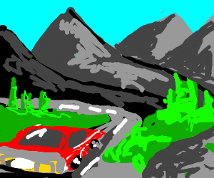 Rear-left view: sport car drives mountain road